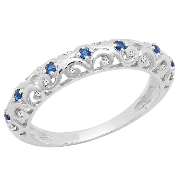 0.20 Carat (ctw) 14K White Gold Round Blue Cubic Zirconia & White Diamond Wedding Band 1/5 CT