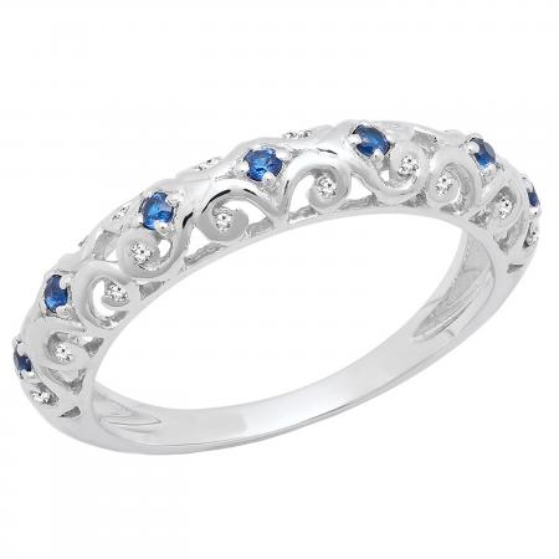 0.20 Carat (ctw) 18K White Gold Round Blue Cubic Zirconia & White Diamond Wedding Band 1/5 CT