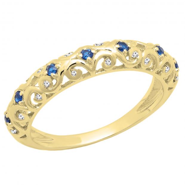 0.20 Carat (ctw) 18K Yellow Gold Round Blue Cubic Zirconia & White Diamond Wedding Band 1/5 CT