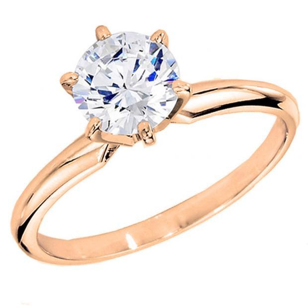 IGI CERTIFIED 1.60 Carat (ctw) 10K Rose Gold Round Diamond Bridal Solitaire Engagement Ring