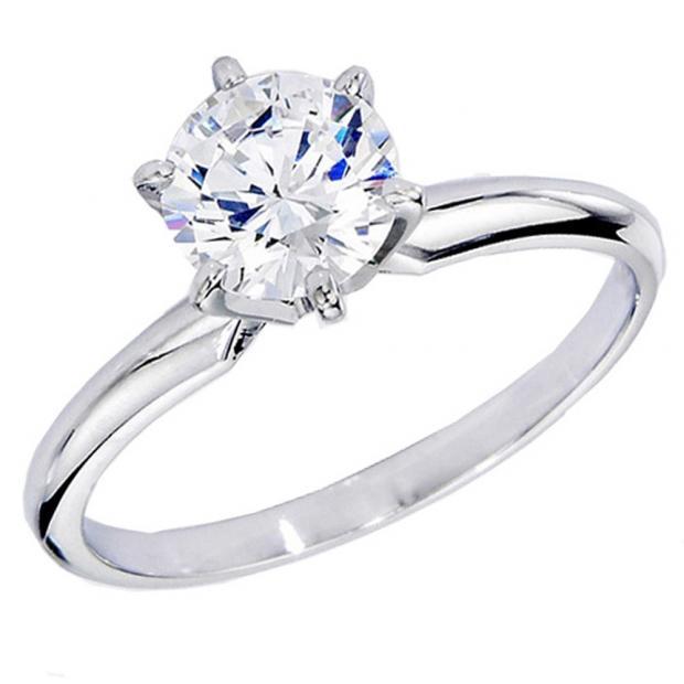 IGI CERTIFIED 1.60 Carat (ctw) 10K White Gold Round Diamond Bridal Solitaire Engagement Ring