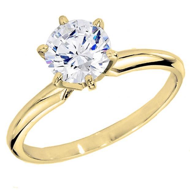 IGI CERTIFIED 1.60 Carat (ctw) 18K Yellow Gold Round Diamond Bridal Solitaire Engagement Ring