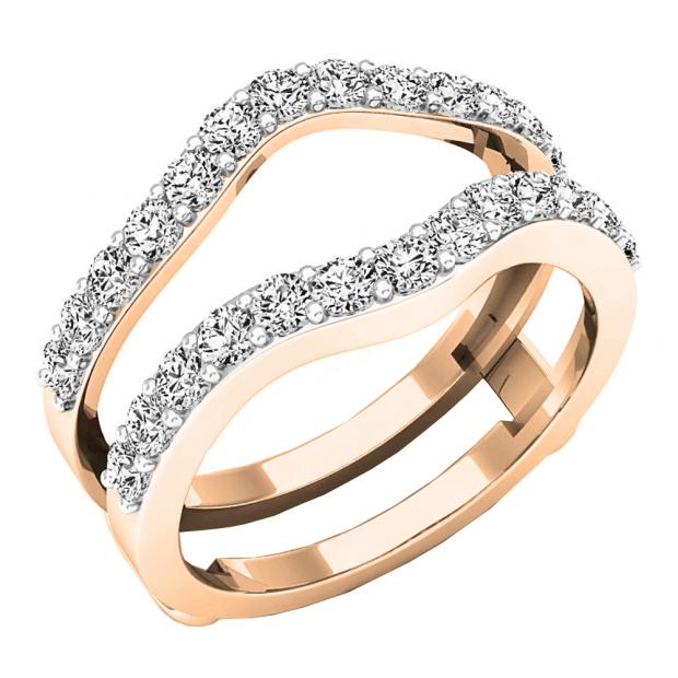 1.60 Carat (ctw) 18K Rose Gold Round Cut Cubic Zirconia Ladies Wedding Enhancer Guard Double Ring