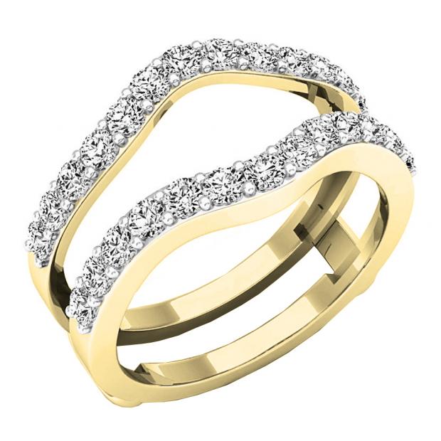 1.60 Carat (ctw) 18K Yellow Gold Round Cut Cubic Zirconia Ladies Wedding Enhancer Guard Double Ring