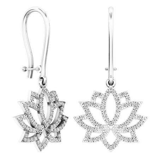 0.25 Carat (ctw) 10K White Gold Round White Diamond Ladies Flower Drop Earrings 1/4 CT