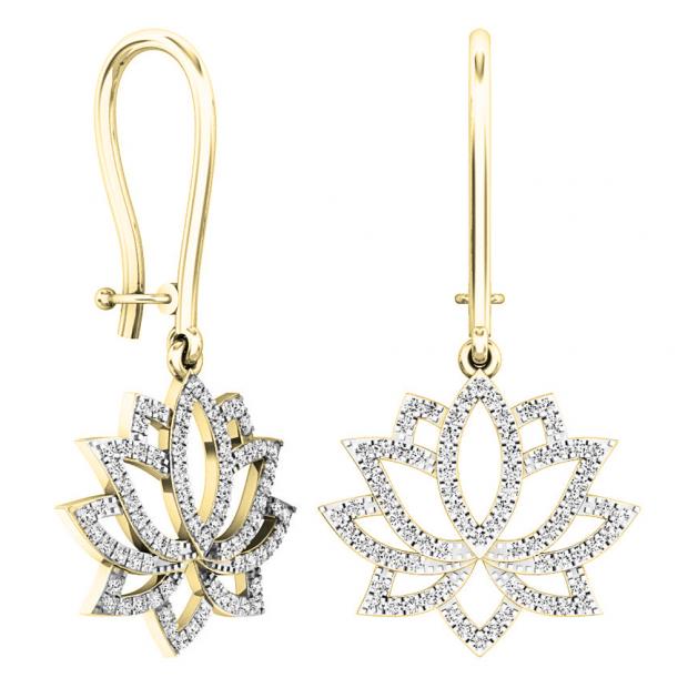 0.25 Carat (ctw) 18K Yellow Gold Round White Diamond Ladies Flower Drop Earrings 1 1/4 CT