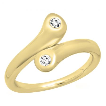 0.24 Carat (ctw) 14K Yellow Gold Round Diamond Ladies Two Stone Bypass Style Right Hand Ring 1/4 CT