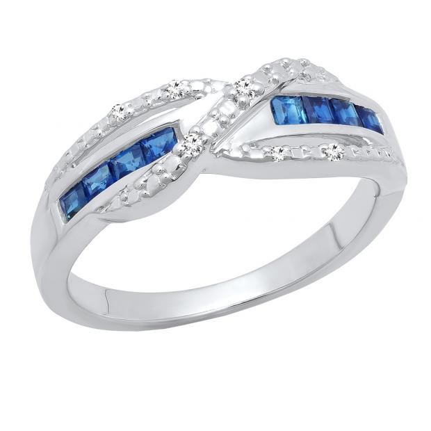 Sterling Silver Princess Blue Sapphire & Round White Diamond Swirl Style Ladies Engagement Ring