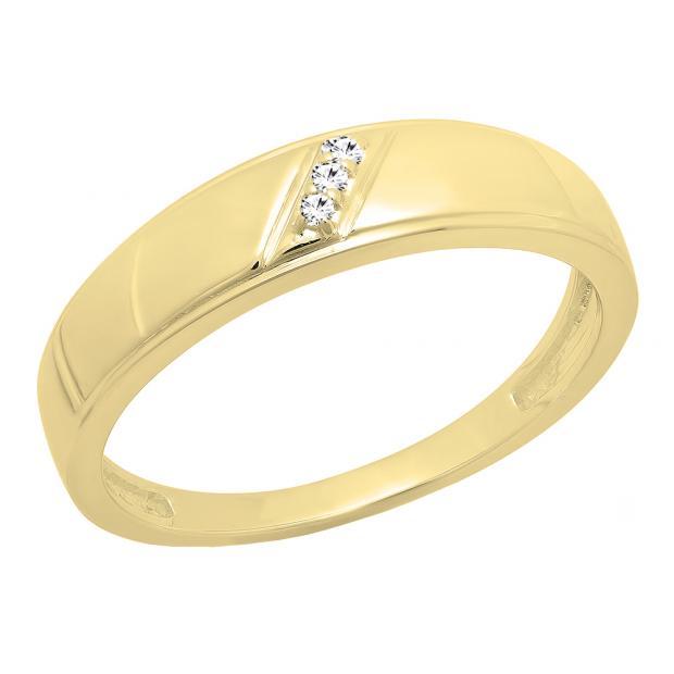 0.02 Carat (ctw) 14K Yellow Gold Round Cut White Diamond Ladies 3 Stone Anniversary Wedding Band
