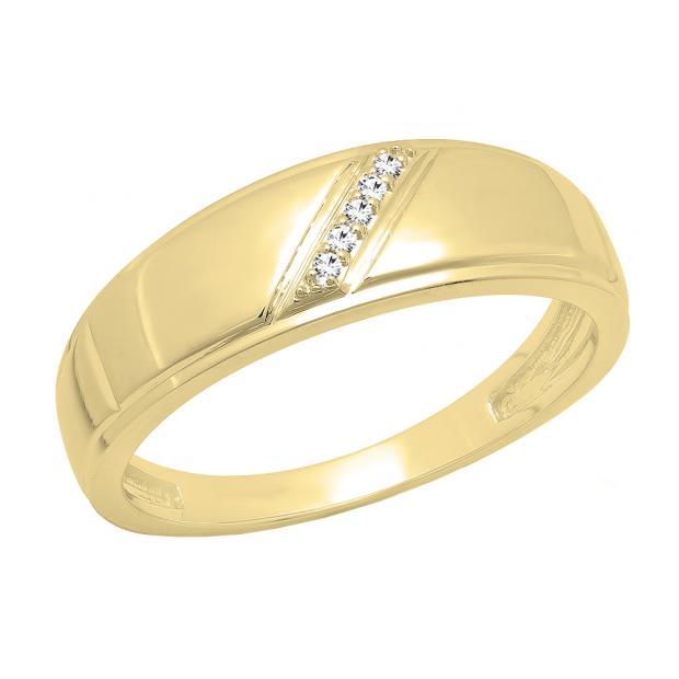 0.03 Carat (ctw) 14K Yellow Gold Round Cut White Diamond Men