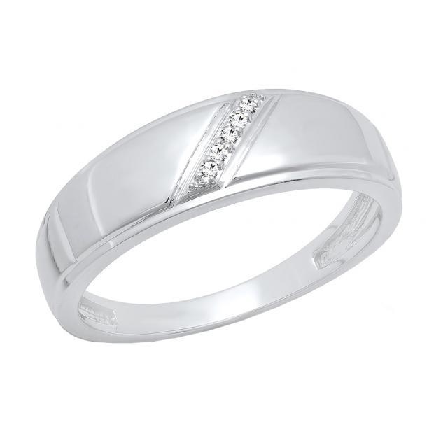 0.03 Carat (ctw) 18K White Gold Round Cut White Diamond Men