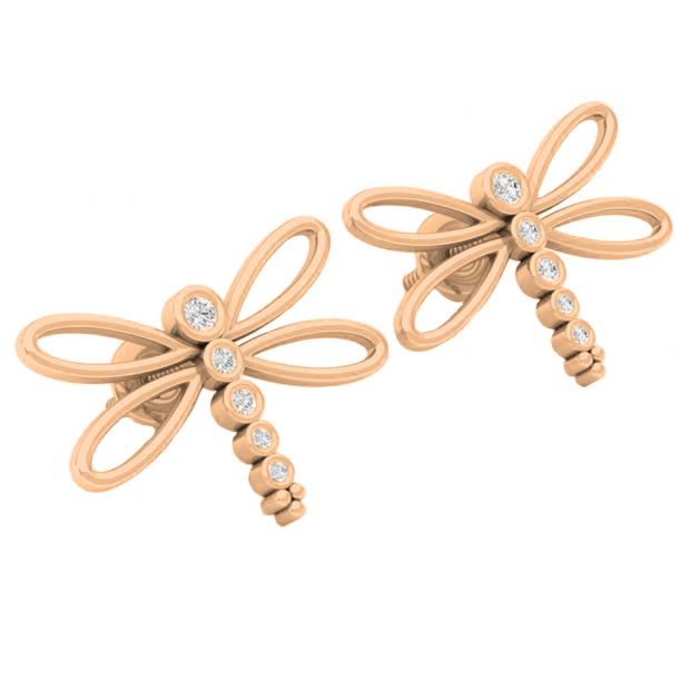 0.15 Carat (ctw) 10K Rose Gold Round Cut White Diamond Ladies Butterfly Fashion Stud Earrings