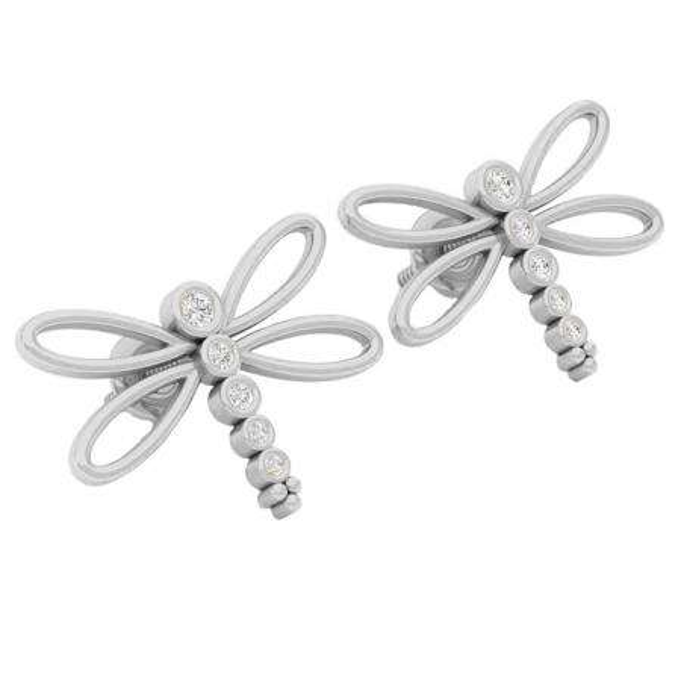 0.15 Carat (ctw) 10K White Gold Round Cut White Diamond Ladies Butterfly Fashion Stud Earrings