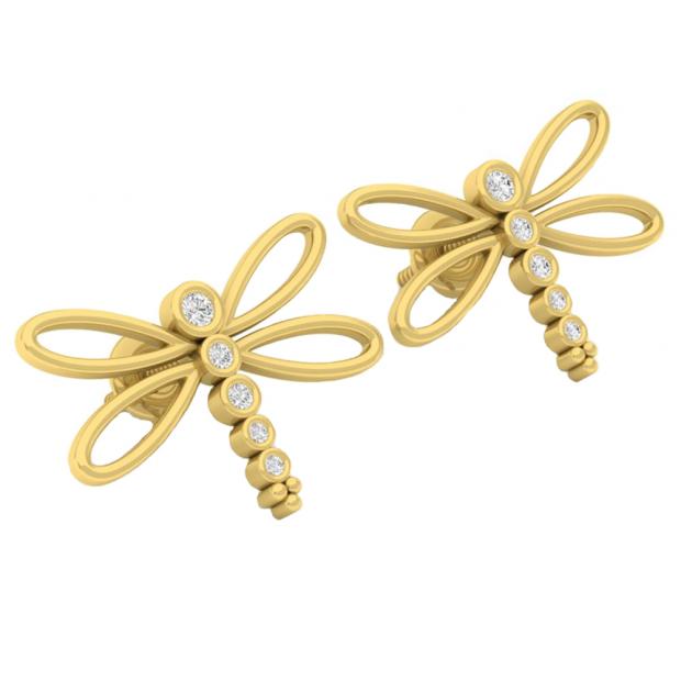0.15 Carat (ctw) 10K Yellow Gold Round Cut White Diamond Ladies Butterfly Fashion Stud Earrings