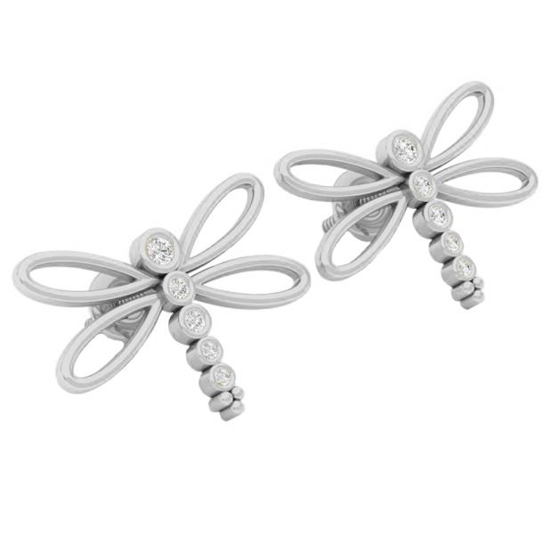 0.15 Carat (ctw) 14K White Gold Round Cut White Diamond Ladies Butterfly Fashion Stud Earrings