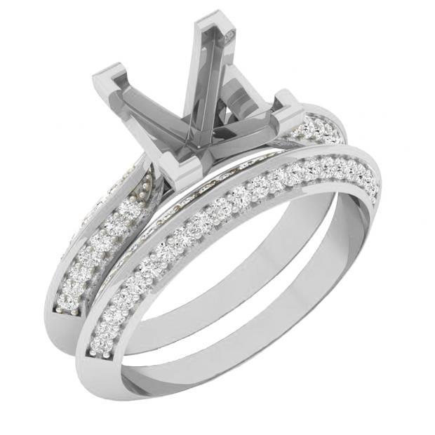 0.50 Carat (ctw) 14K White Gold Round Diamond Ladies Semi Mount Bridal Engagement Ring Set 1/2 CT