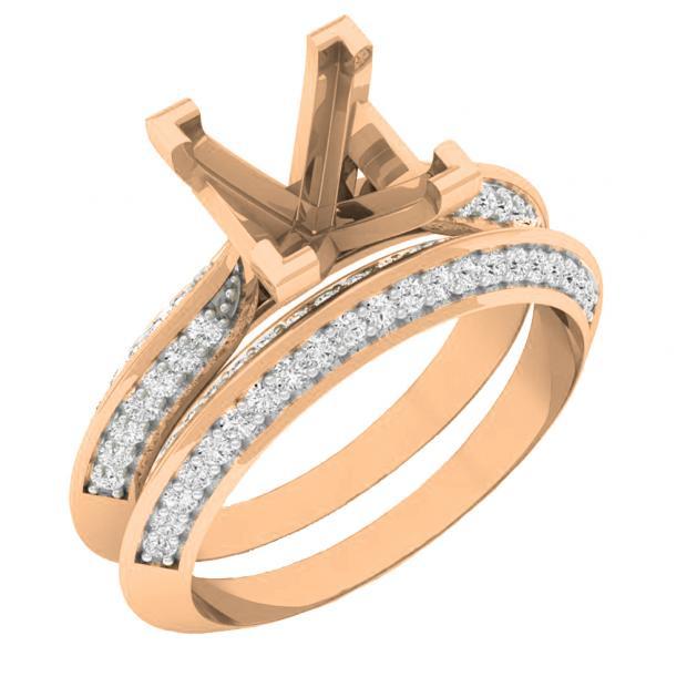 0.50 Carat (ctw) 18K Rose Gold Round Diamond Ladies Semi Mount Bridal Engagement Ring Set 1/2 CT