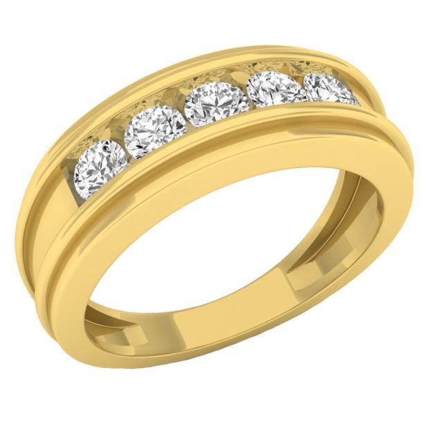 0.97 Carat (ctw) 14K Yellow Gold Round White Diamond Men