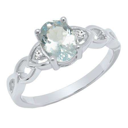 Sterling Silver 8X6 MM Oval Aquamarine & Round White Diamond Ladies Promise Engagement Ring