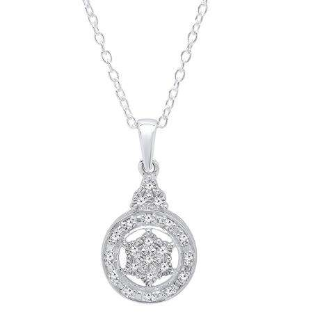 0.15 Carat (ctw) Sterling Silver Round Cut White Diamond Ladies Cluster Style Circle Pendant