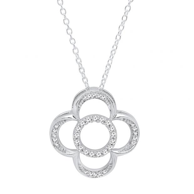 0.25 Carat (ctw) 10K White Gold Round Cut White Diamond Ladies Vintage Style Clover Pendant 1/4 CT