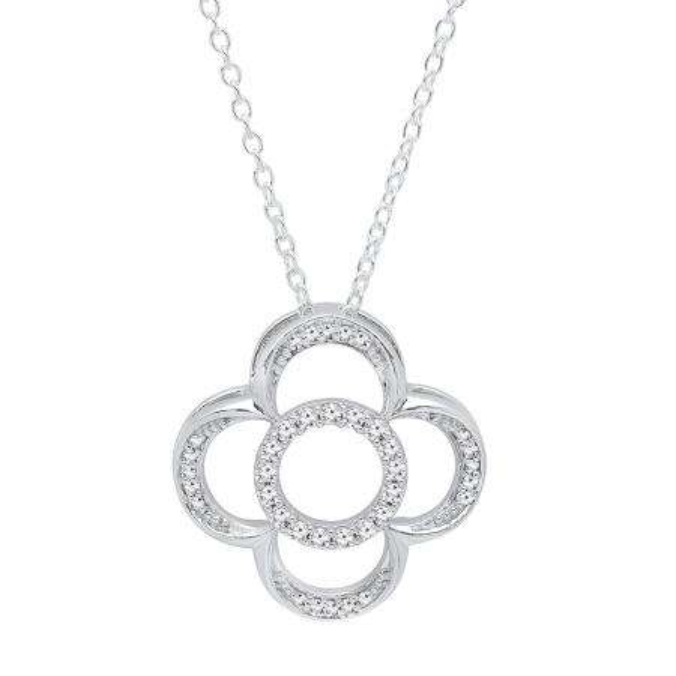 0.25 Carat (ctw) 14K White Gold Round Cut White Diamond Ladies Vintage Style Clover Pendant 1/4 CT