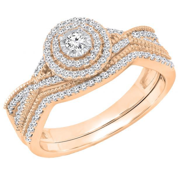 0.35 Carat (ctw) 10K Rose Gold Round White Diamond Ladies Swirl Twisted Engagement Ring Set 1/3 CT