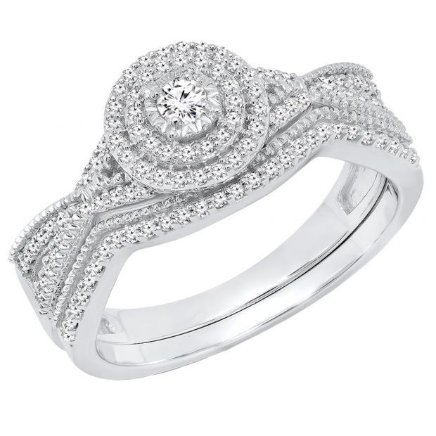 0.35 Carat (ctw) 10K White Gold Round White Diamond Ladies Swirl Twisted Engagement Ring Set 1/3 CT