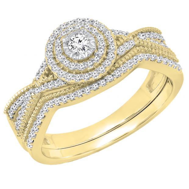 0.35 Carat (ctw) 10K Yellow Gold Round White Diamond Ladies Swirl Twisted Engagement Ring Set 1/3 CT