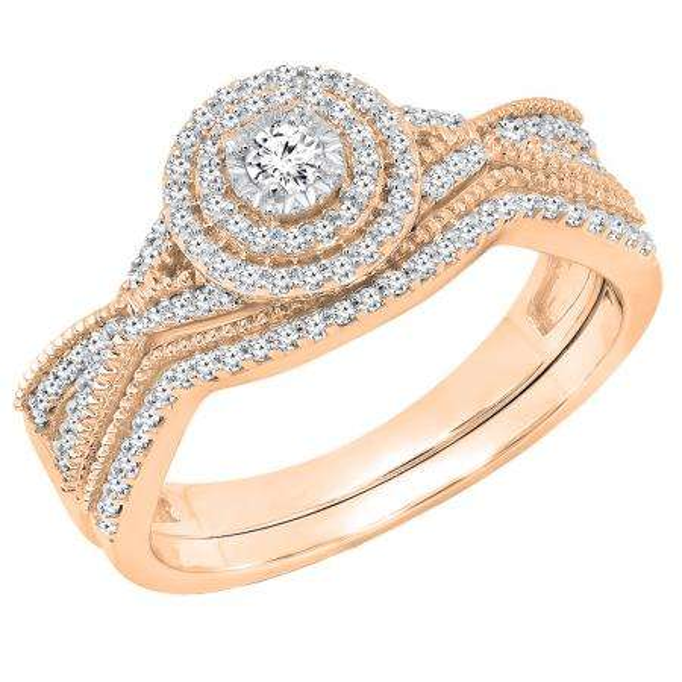 0.35 Carat (ctw) 18K Rose Gold Round White Diamond Ladies Swirl Twisted Engagement Ring Set 1/3 CT