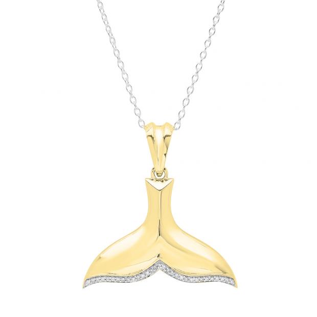 0.10 Carat (ctw) 10K Yellow Gold Round White Diamond Ladies Fish Tail Shape Pendant 1/10 CT