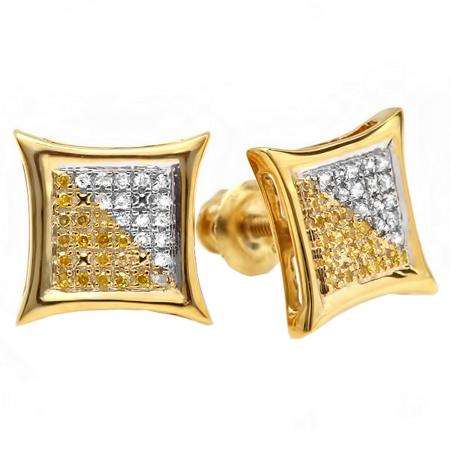 0.11 Carat (ctw) 18K Yellow Gold Plated Sterling Silver White & Yellow Diamond Stud Earrings