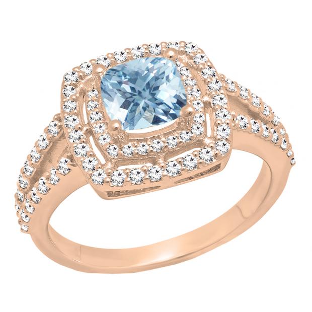 18K Rose Gold 6 MM Cushion Aquamarine & Round White Diamond Ladies Halo Engagement Ring