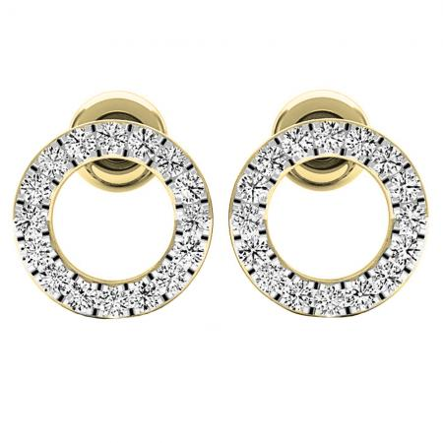 0.33 Carat (ctw) 10K Yellow Gold Round Cut White Diamond Ladies Circle Shape Stud Earrings 1/3 CT
