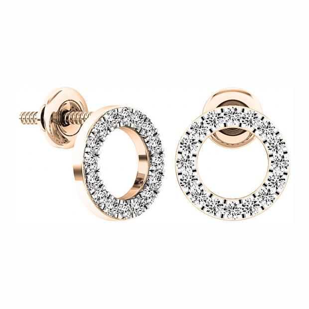 0.33 Carat (ctw) 14K Rose Gold Round Cut White Diamond Ladies Circle Shape Stud Earrings 1/3 CT