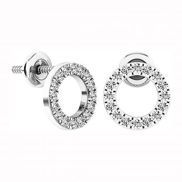 0.33 Carat (ctw) 14K White Gold Round Cut White Diamond Ladies Circle Shape Stud Earrings 1/3 CT