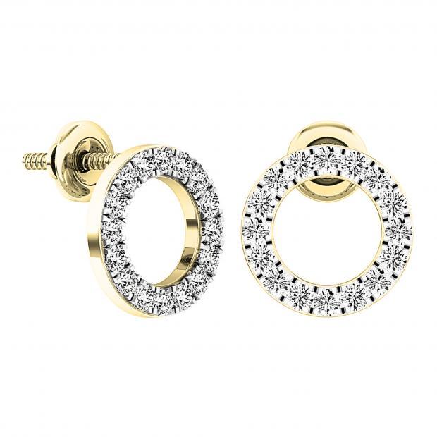 0.50 Carat (ctw) 10K Yellow Gold Round Cut White Diamond Ladies Circle Shape Stud Earrings 1/3 CT