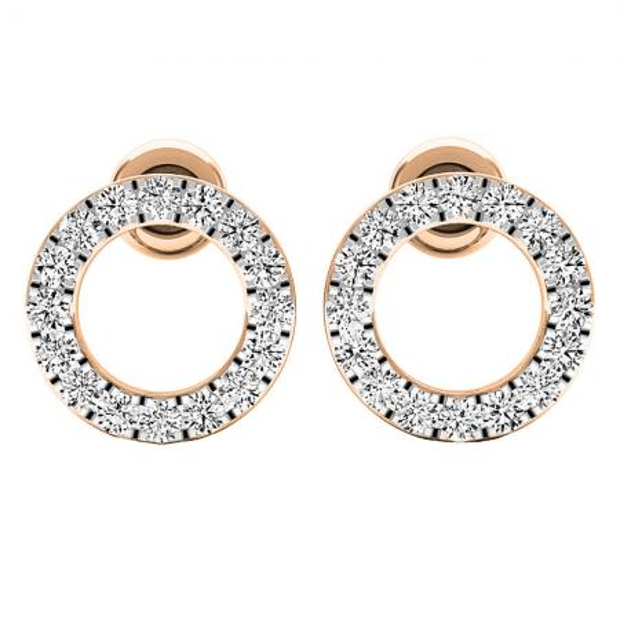 0.50 Carat (ctw) 18K Rose Gold Round Cut White Diamond Ladies Circle Shape Stud Earrings 1/3 CT