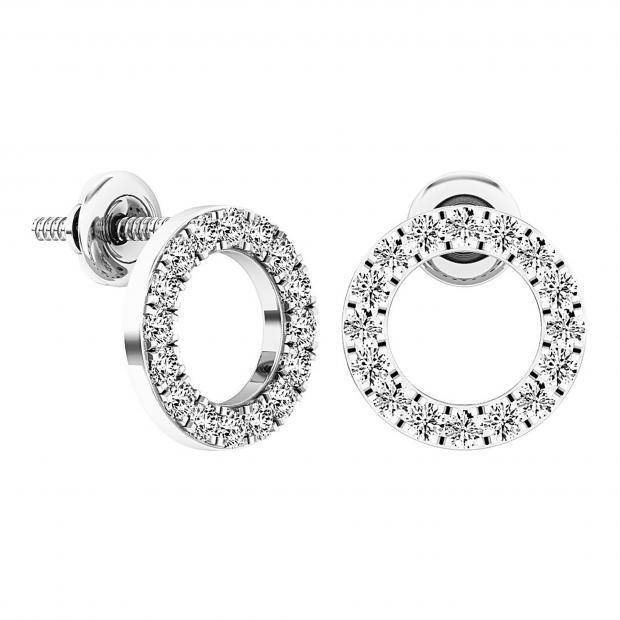 0.50 Carat (ctw) 18K White Gold Round Cut White Diamond Ladies Circle Shape Stud Earrings 1/3 CT