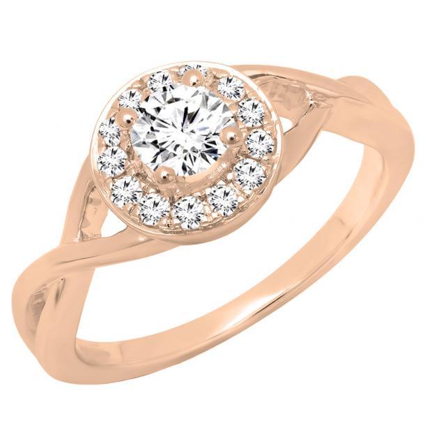 0.60 Carat (ctw) 14K Rose Gold Round White Diamond Ladies Swirl Bridal Halo Engagement Ring