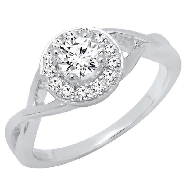 0.60 Carat (ctw) 18K White Gold Round White Diamond Ladies Swirl Bridal Halo Engagement Ring
