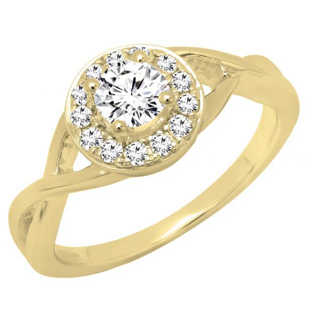 0.60 Carat (ctw) 18K Yellow Gold Round White Diamond Ladies Swirl Bridal Halo Engagement Ring