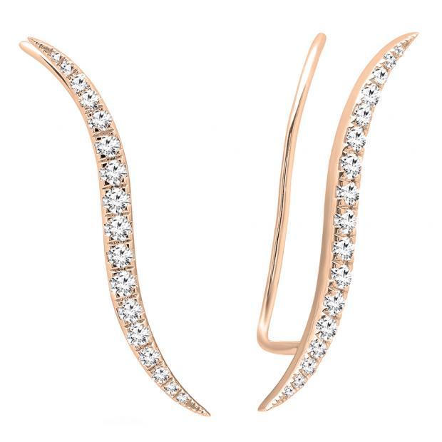 0.70 Carat (ctw) 14K Rose Gold Round Cut White Diamond Ladies Climber Earrings 3/4 CT