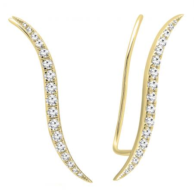 0.70 Carat (ctw) 14K Yellow Gold Round Cut White Diamond Ladies Climber Earrings 3/4 CT
