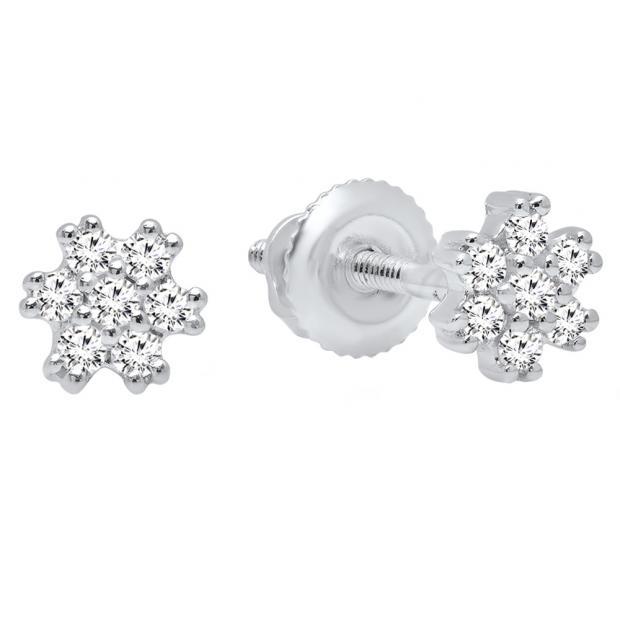 0.15 Carat (ctw) 10K White Gold Round White Diamond Ladies Flower Cluster Earrings