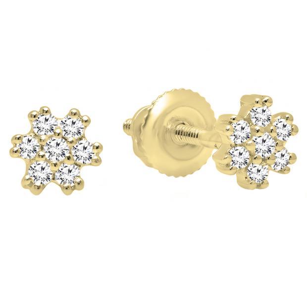 0.15 Carat (ctw) 10K Yellow Gold Round White Diamond Ladies Flower Cluster Earrings