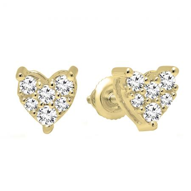 59b376deb 0.33 Carat (Ctw) 10K Yellow Gold Round Cut White Diamond Ladies Heart Shape Stud  Earrings 1/3 CT