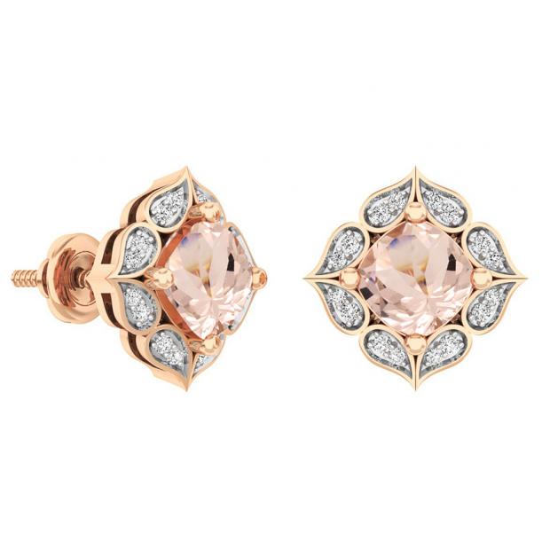 10K Rose Gold Cushion Cut 6 MM Morganite & Round Cut White Diamond Ladies Stud Earrings