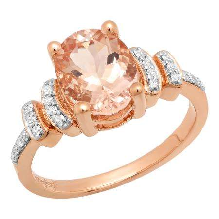 14K Rose Gold 9X7 MM Oval Cut Morganite & Round Cut White Diamond Ladies Bridal Engagement Ring