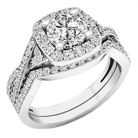 2 55 Carat Ctw 10k White Gold Round Cut Cubic Zirconia Ladies
